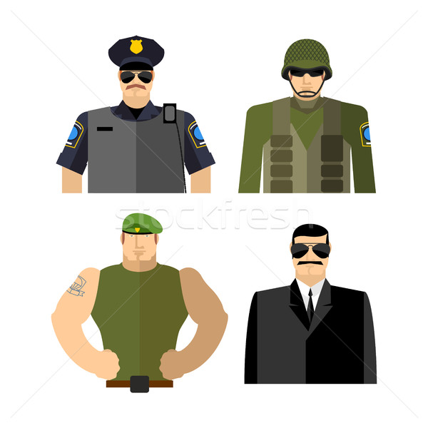 Set of men in work clothes. Police and military. Soldier and spy Stock photo © popaukropa