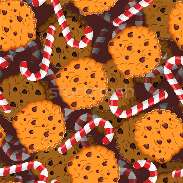 Peppermint Christmas candy and cookies pattern. Sweet festive ba Stock photo © popaukropa