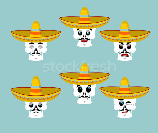Skeletons and sombrero set for Day of the Dead. Multi-colored sk Stock photo © popaukropa