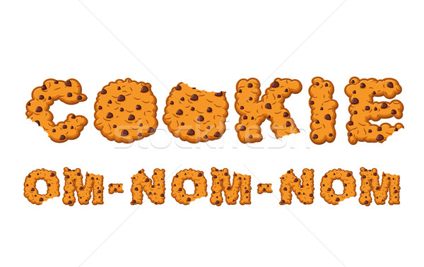 Om nom nom cookie Typography. Letters of biscuit. lettring of co Stock photo © popaukropa