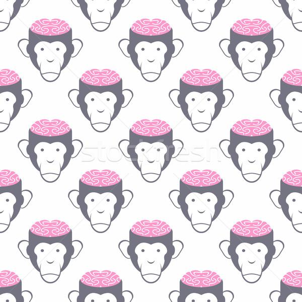 Małpa bezszwowy wektora wzór zwierząt uśmiech Zdjęcia stock © popaukropa