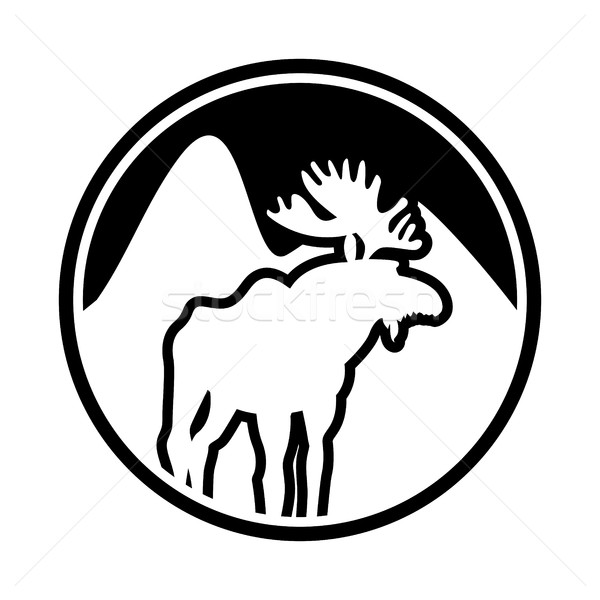 Moose logo. Deer emblem. Animal with horns. Wild animal Stock photo © popaukropa