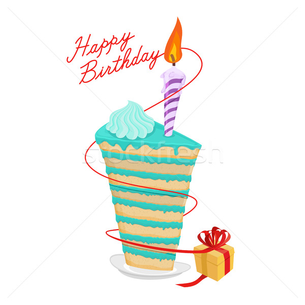Birthday piece of cake and gift. Great sweets. Confectionery pro Stock photo © popaukropa