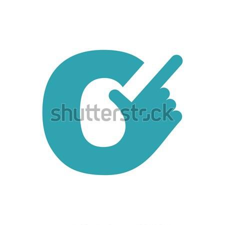 Mektup el işaret parmağı yalıtılmış beyaz iş Stok fotoğraf © popaukropa