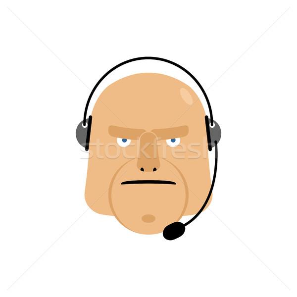 Call center ícone gerente atendimento ao cliente cabeça fone Foto stock © popaukropa