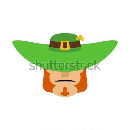 Leprechaun in green hat face. Head with Red beard. Portrait for  Stock photo © popaukropa