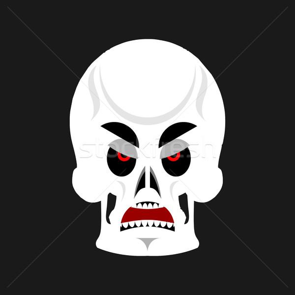 Schedel boos skelet hoofd knorrig emotie Stockfoto © popaukropa