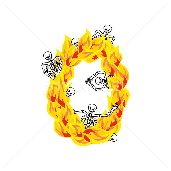 Number 0 hellish flames and sinners font. Fiery lettering zero.  Stock photo © popaukropa
