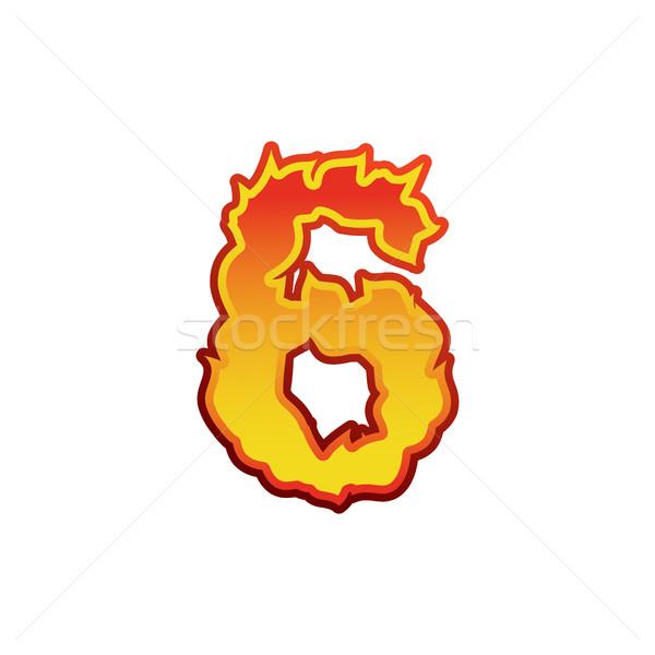 Número fuego llamas fuente seis tatuaje Foto stock © popaukropa