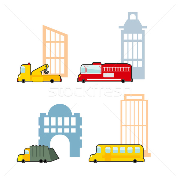 Vehicle and industrial buildings. Fire truck and tow truck. Scho Stock photo © popaukropa
