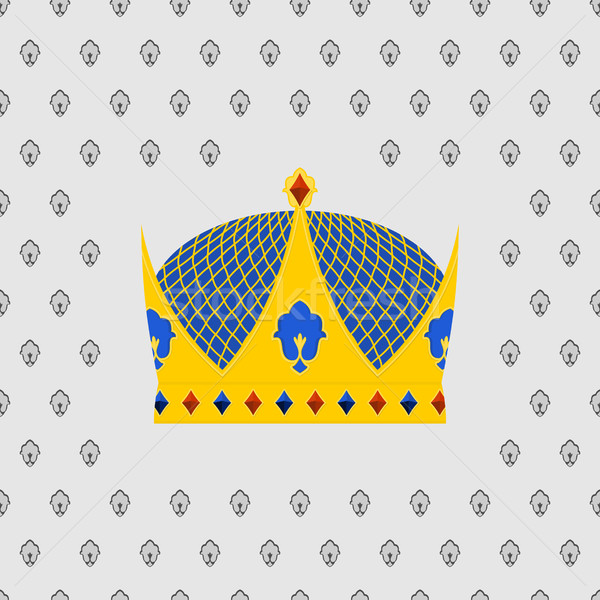 Royal Crown of gold with precious stones. Vector illustration Stock photo © popaukropa