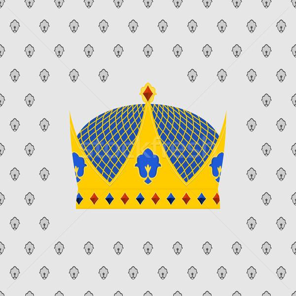Royal couronne or précieux pierres design Photo stock © popaukropa