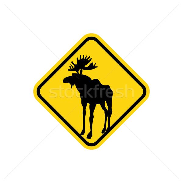 道路標識 黄色 鹿 ムース ベクトル 注目 ストックフォト © popaukropa