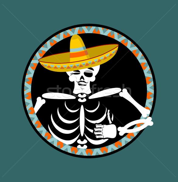 Szombréró nap halott tarka koponya mexikói Stock fotó © popaukropa