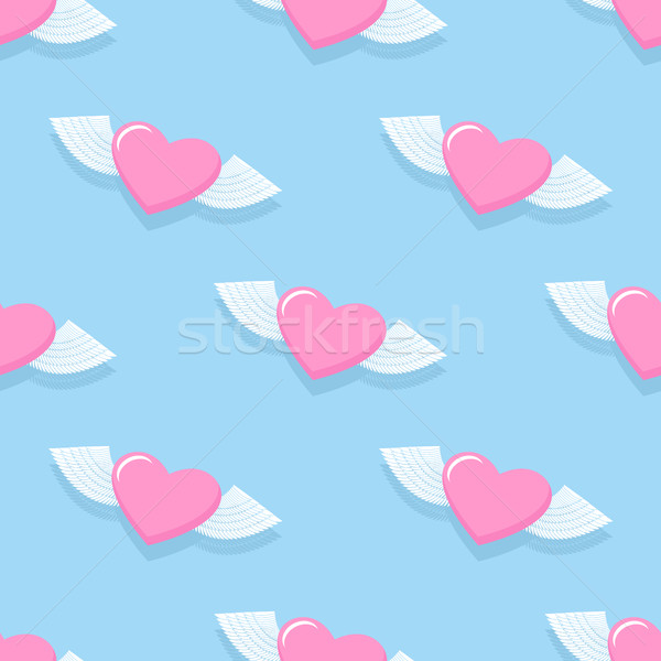 Winged heart seamless pattern. Background for Valentine's day. H Stock photo © popaukropa