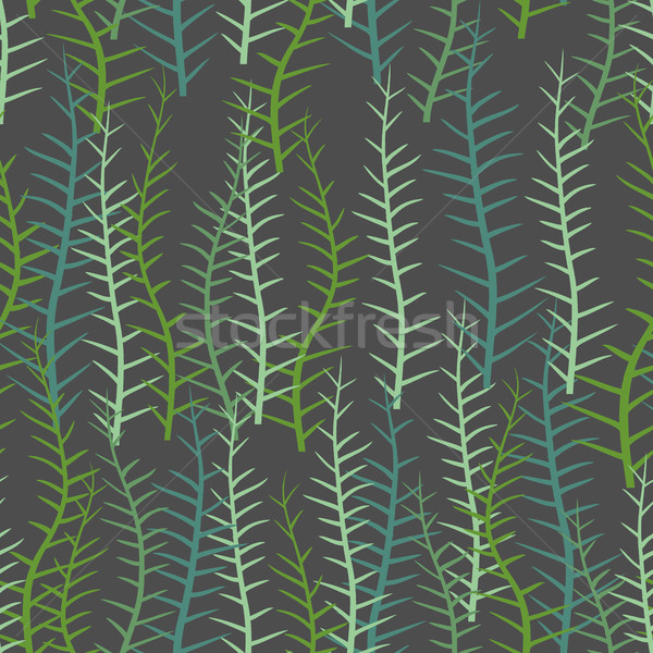 Stock photo: Algae seamless pattern. Green long Plant into  sea or a lake. Ve