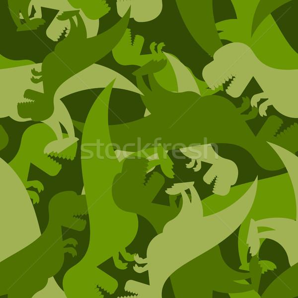 Military pattern dinosaur. Army texture of Tyrannosaurus. Camo b Stock photo © popaukropa