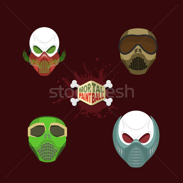 Set  paintball mask. skull in protective mask. Mortal paintball. Stock photo © popaukropa