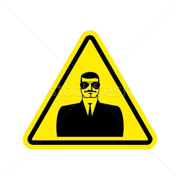 Spy Warning sign yellow. Secret Agent Hazard attention symbol. D Stock photo © popaukropa