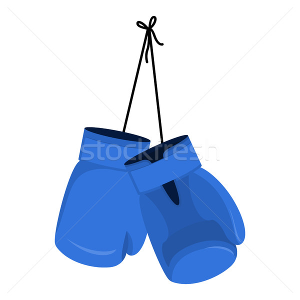 Hanging blue boxing gloves. Accessory for boxer. sports equipmen Stock photo © popaukropa