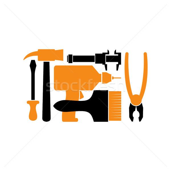 Stock fotó: Javítás · logo · szerszám · embléma · hangszer · felirat