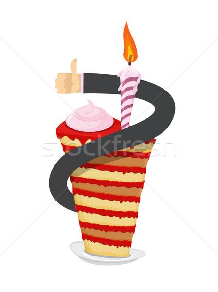 Születésnap darab torta kéz hüvelykujj felfelé Stock fotó © popaukropa