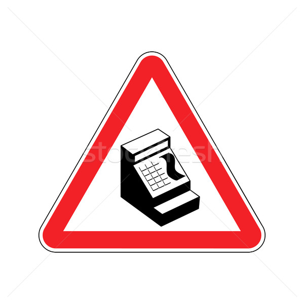 Attention cash payment. cash register on red triangle. Road sign Stock photo © popaukropa