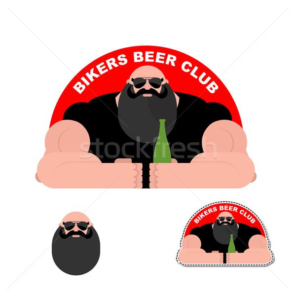 Logo motoros sör klub szakállas brutális Stock fotó © popaukropa