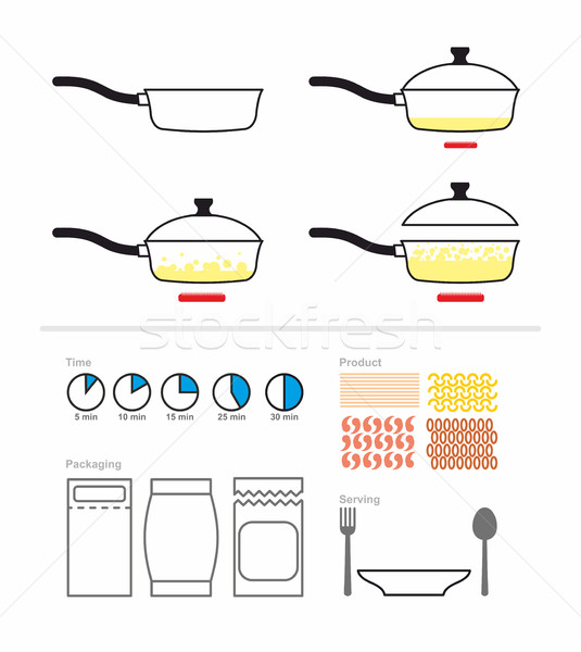 Cooking instruction with a frying pan. FRY on griddle. Set for m Stock photo © popaukropa