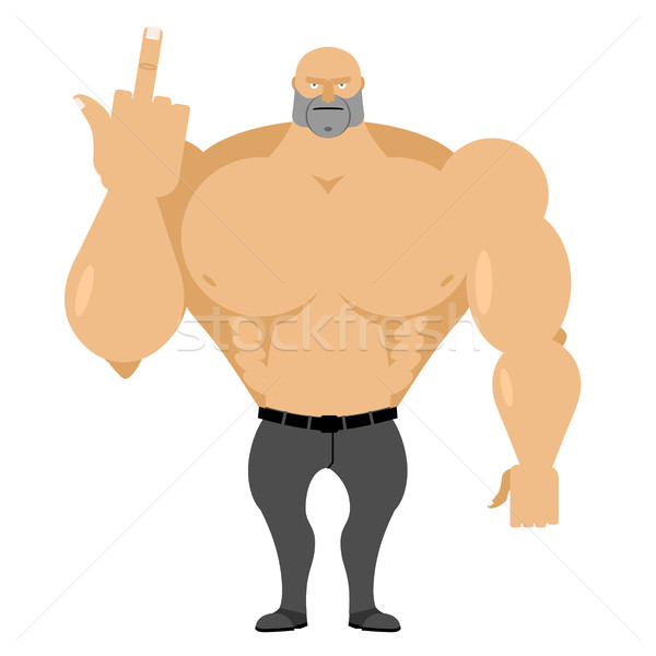 Strong man in jeans with big muscles shows fuck. Angry, Wicked R Stock photo © popaukropa