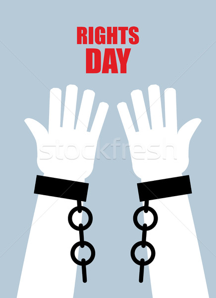 Rights day. Hands free. Torn chain. Broken shackles, handcuffs.  Stock photo © popaukropa