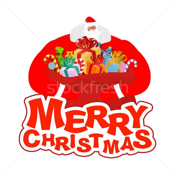 Vidám karácsony mikulás táska manó segítő Stock fotó © popaukropa