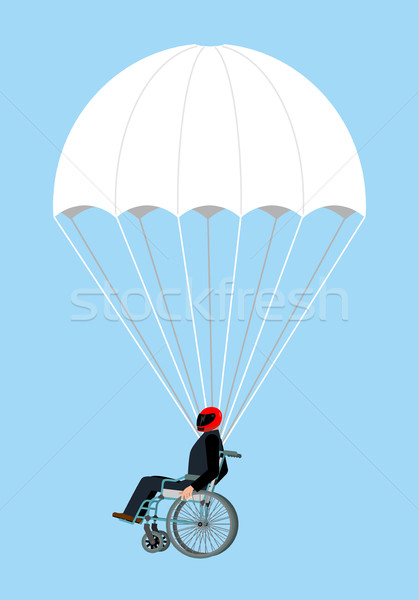 Disabled skydiver isolated. Wheelchair on parachute on sky Stock photo © popaukropa