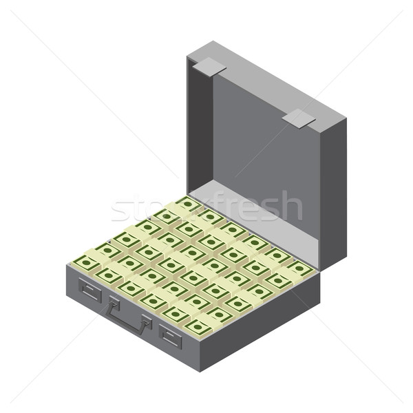 Suitcase full of money. Case cash. trunk dollars isolated Stock photo © popaukropa