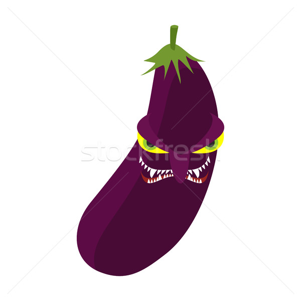 Angry eggplant. Aggressive purple vegetable. Dangerous fruit Stock photo © popaukropa