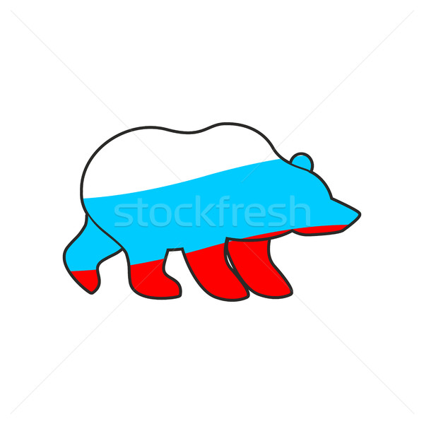 Bear Russia flag emblem. National Traditional Russian predator Stock photo © popaukropa