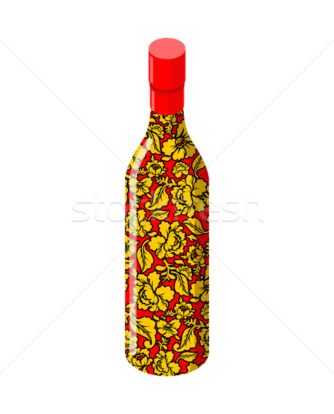 Russian vodka bottle Khokhloma painting. National folk alcoholic Stock photo © popaukropa