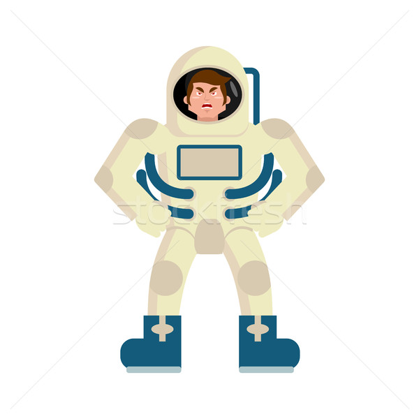 Astronaut angry Emoji. spaceman aggressive emotion isolated Stock photo © popaukropa