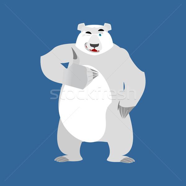 Polar Bear winks Emoji. Wild animal Arctic and Antarctic. Merry  Stock photo © popaukropa