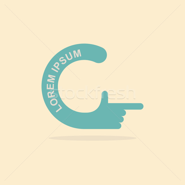 logo hand. Letter C. Pointing gesture hands Stock photo © popaukropa
