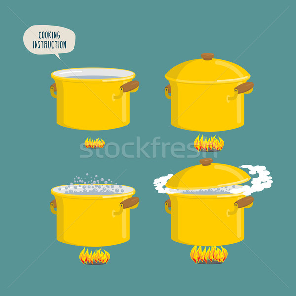 Stock photo: Set cooking plates. Boiling water for various dishes.