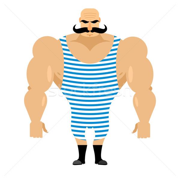Retro strongman sportsman. Ancient bodybuilder with mustache. At Stock photo © popaukropa