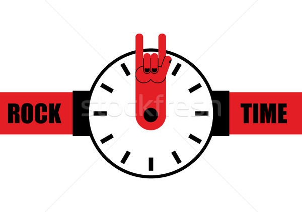 Rock time. Watch as arrow rock hand sign. Wrist watches for this Stock photo © popaukropa