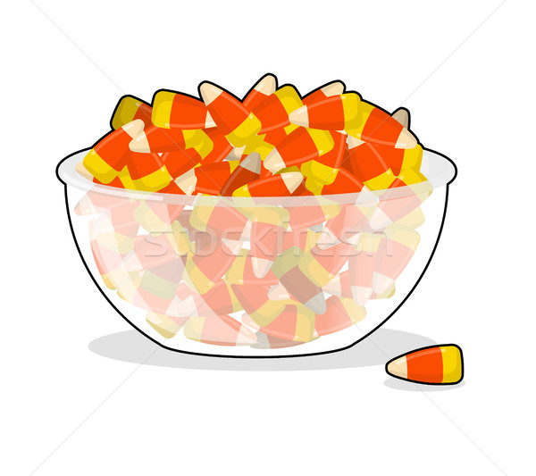Bowl and candy corn. Sweets on plate. Traditional Treats for Hal Stock photo © popaukropa