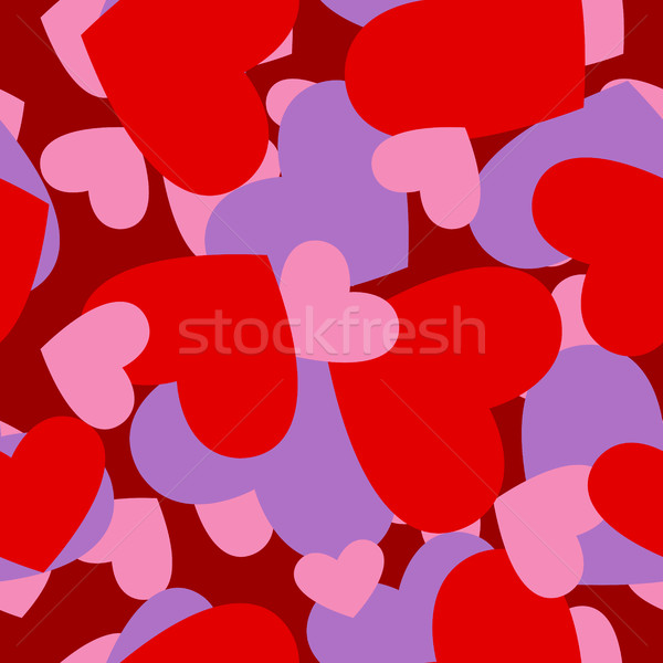 Army red heart pattern. Military camouflage Vector texture for V Stock photo © popaukropa