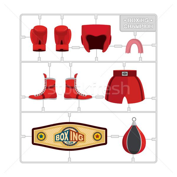 бокса набор коллекция чемпион перчатки шлема Сток-фото © popaukropa