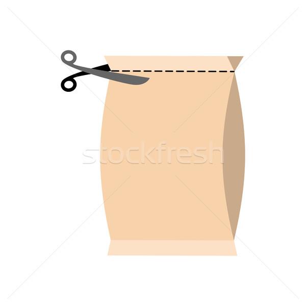 オープン パッケージ 孤立した はさみ カット パック ストックフォト © popaukropa