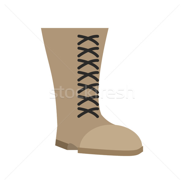 Military boots beige isolated. Army shoes on white background. s Stock photo © popaukropa