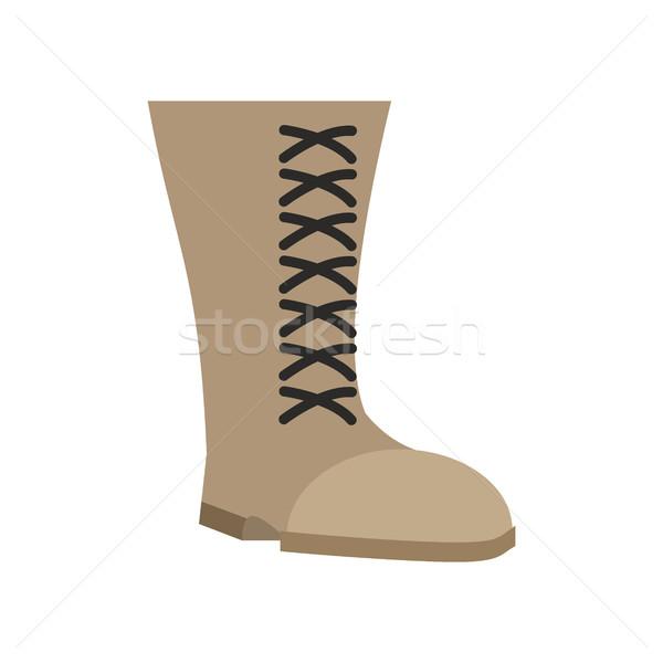 Wojskowych buty beżowy odizolowany armii buty Zdjęcia stock © popaukropa