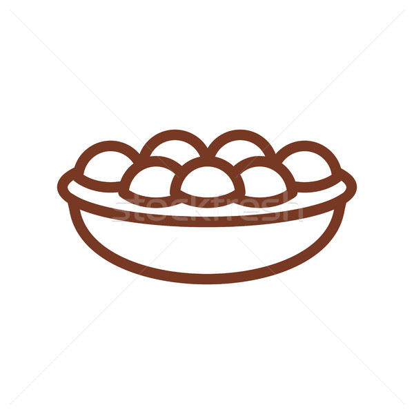 Pie line icon. Sign for production of bread and bakery Stock photo © popaukropa